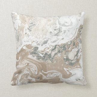 Marble Minimal Stone Ivory Creamy Gray Cali White Throw Pillow