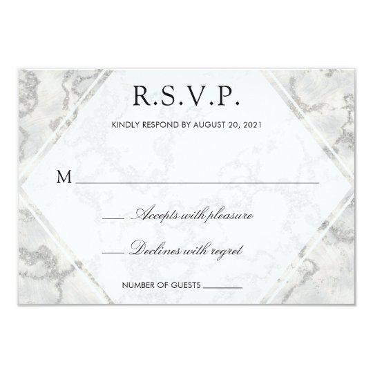 Marble Modern White Respond RSVP Card