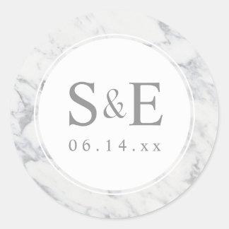 Marble Monogram Wedding Favor Personalized Pattern Classic Round Sticker