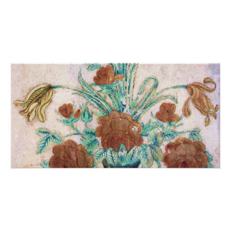 Marble Mosaic Flowers Picture Card
