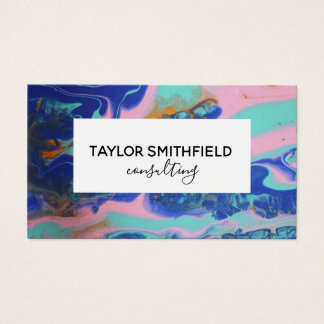 marble paint pour gold modern business card