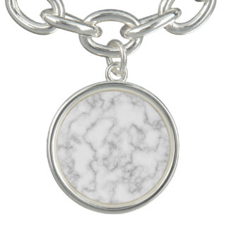 Marble Pattern Gray White Marbled Stone Background Charm Bracelets
