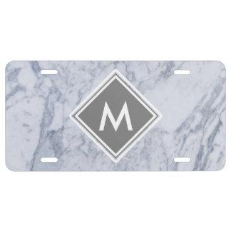 Marble Pattern Monogram License Plate