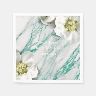 Marble Personalized Floral Tiffany White Mint Napkin