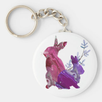 Marble Pink Purple Easter Spring Bunny Rabbit Keychain