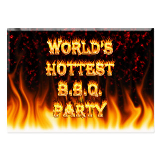 Marble Red World's Hottest BBQ Party Large Business Card