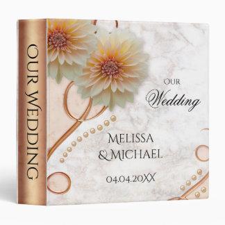 Marble Rose Gold Floral Wedding Binder