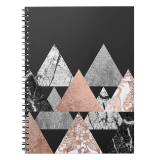 Marble Rose Gold Silver and Floral Geo Triangles Notebook