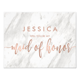 Marble & Rose Gold Will You Be My Maid of Honor Card