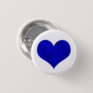 Marble Royal Cobalt Blue Heart 1 Inch Round Button