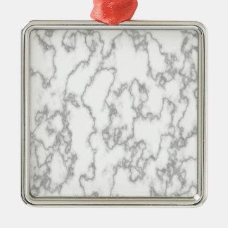 Marble Silver-Colored Square Ornament
