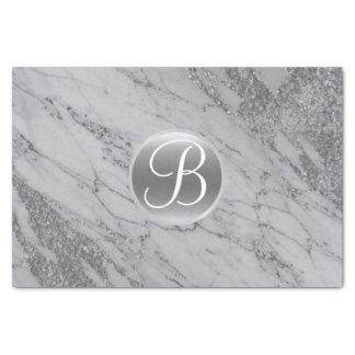 Marble Silver Glitter Glam Monogram Letter Initial Tissue Paper