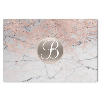 Marble Silver & Rose Gold Monogram Letter Initial Tissue Paper