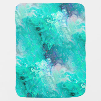 MARBLE STARRY NEBULA SKY AQUA AND BLUE BABY BLANKET