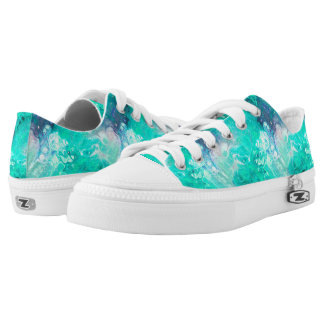 MARBLE STARRY NEBULA SKY AQUA Low-Top SNEAKERS