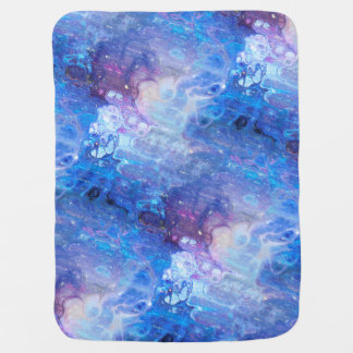 MARBLE STARRY NEBULA SKY BLUE AND AQUA BABY BLANKET