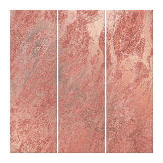 Marble Stone Abstract Copper Coral Rose Gold Minim Canvas Print