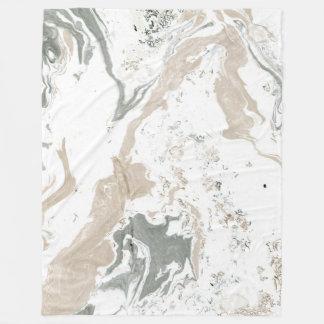 Marble Stone Abstract Creamy Carrara Ivory Mint Fleece Blanket
