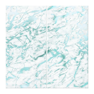 Marble Stone Abstract White Aqua Blue Tiffany Lux Canvas Print