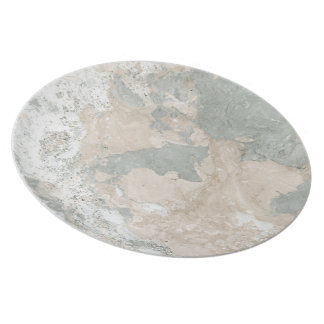 Marble Stone Abstract White Beige Ivory Cream Gray Plate