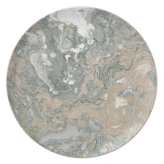 Marble Stone Abstract White Beige Ivory Deep Gray Plate