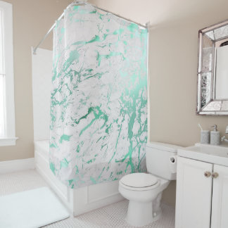 Marble Stone Abstract White Carrara Teal Mint