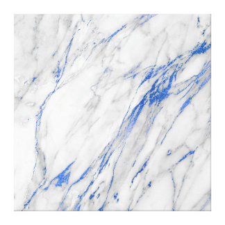 Marble Stone Abstract White Gray Carrara Blue Navy Canvas Print