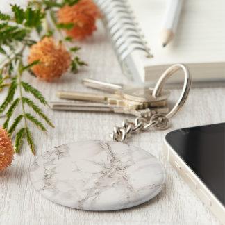 Marble Stone Basic Button Keychain