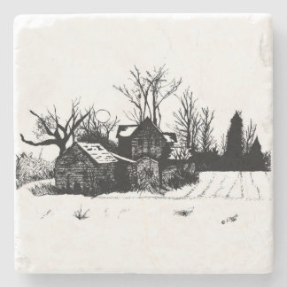 Marble Stone Coaster - Ink Winter Farmstead