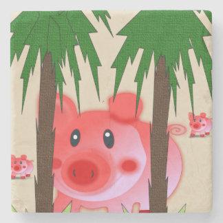 Marble Stone Coaster Pig