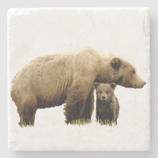 Marble Stone Coaster w/ grizzly mom and cub