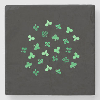 Marble stone coaster with clover leaves