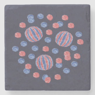 Marble stone coaster with red-blue balls