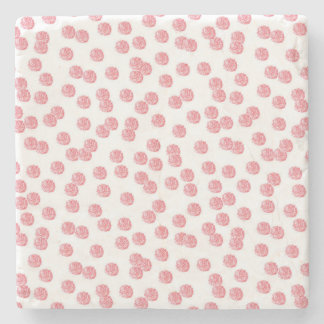 Marble stone coaster with red polka dots
