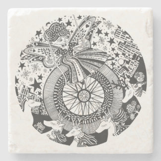 Marble Stone Drink Coaster | Rockabilly Carousel Stone Coaster