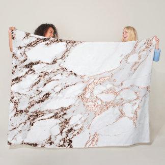 Marble Stone Metallic Copper White Carrara Gray Fleece Blanket