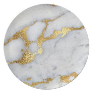 Marble Stone Metallic Gold Gray Carrara Plate