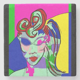 MARBLE STONE RETRO ROCKABILLY GIRL COASTER ART