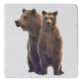 Marble Stone Trivet w/ grizzly bear