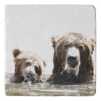 Marble Stone Trivet w/ grizzly bear and cub