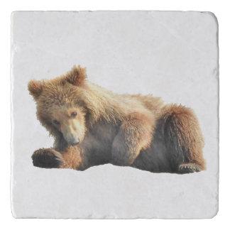 Marble Stone Trivet w/ grizzly bear cub