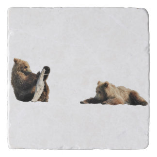 Marble Stone Trivet w/ grizzly bear cubs