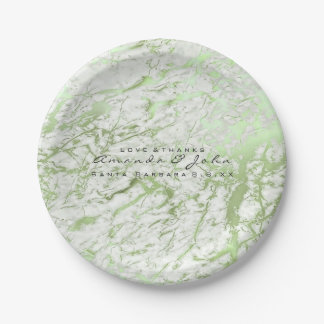 marble Stone White Mint Green Greenery Luxury Paper Plate