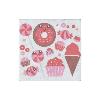 Marble stone with Donuts / red Stone Magnets
