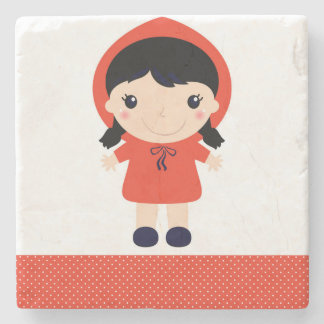 Marble stone with Red riding hood Stone Beverage Coaster