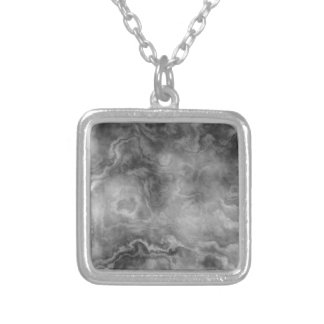 Marble surface silver plated necklace