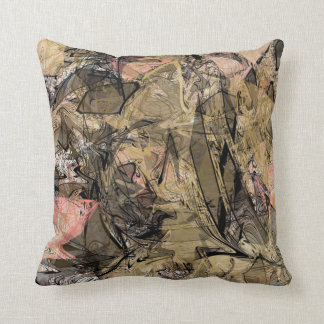 Marble Swirl Abstract Gold Rose Pink Black Modern Throw Pillow