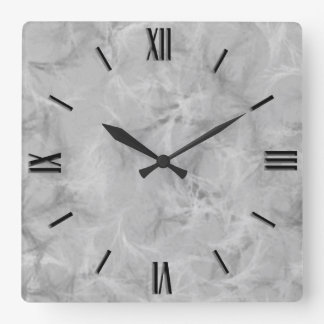 Marble swirl print - soft grey square wall clock