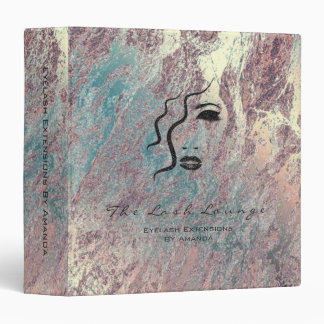 Marble Teal Blush Beauty Makeup Logo 3 Ring Binder