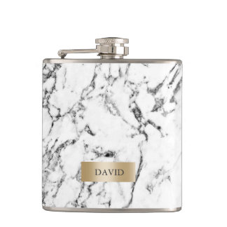 Marble Texture Modern Gold Label with Name Hip Flask